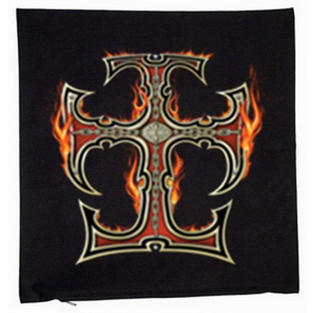 Biker & Motorrad Cross with FlamesDeko Kissen mit Füllung Farbe: schwarz Größe: 40x40cm kaufen