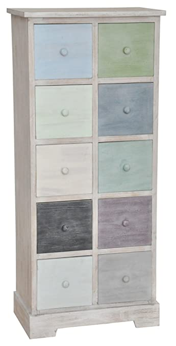 Retro Kommode mehrfarbig, mit 10 Schubladen, 50 x 115 cm