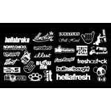 JDM Mega White Vinyl Decal Sticker Pack Lot Bundle of 27 Ota#331 (Color: White, Tamaño: 2