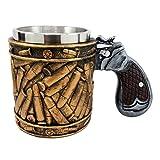 Atlantic Collectibles Western Revolver Gun Pistol With Ammo Bullet Round Shells Beer Stein Tankard Coffee Cup Mug 6.75