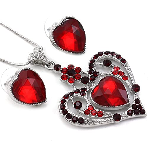 Valentine's Day Red Heart Necklace Pendant & Stud Post Earrings Set Charm Red Rhinestones Ladies