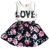 Jastore Girls Letter Love Flower Clothing Sets Top+Short Skirt Kids Clothes (6-7T) (Color: Flower Pattern, Tamaño: 6-7T)