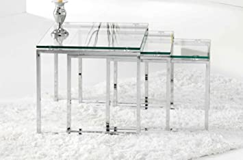 Adec - Pack 3 mesas rincon nido benetto, medidas 50 x 45 x 40 cm, color transparente y acero