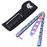 RUNACC Butterfly Knife Stainless Steel Knives Trainer Tool Blunt Practice Knife with Punch Design, Suitable for Training
