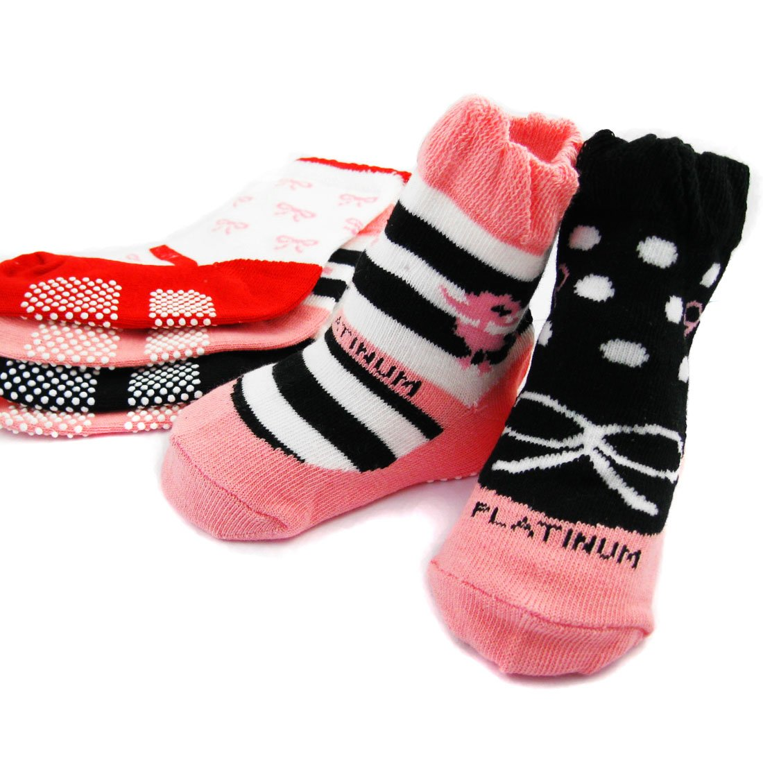 KF Baby Non-Skid Baby Girl Shoe Socks, 5 pairs