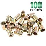 Keadic 100Pcs M12 Metric Zinc Plated Carbon Steel Rivet Nut Flat Head Threaded Insert Nutsert Kit (M12) (Tamaño: M12)