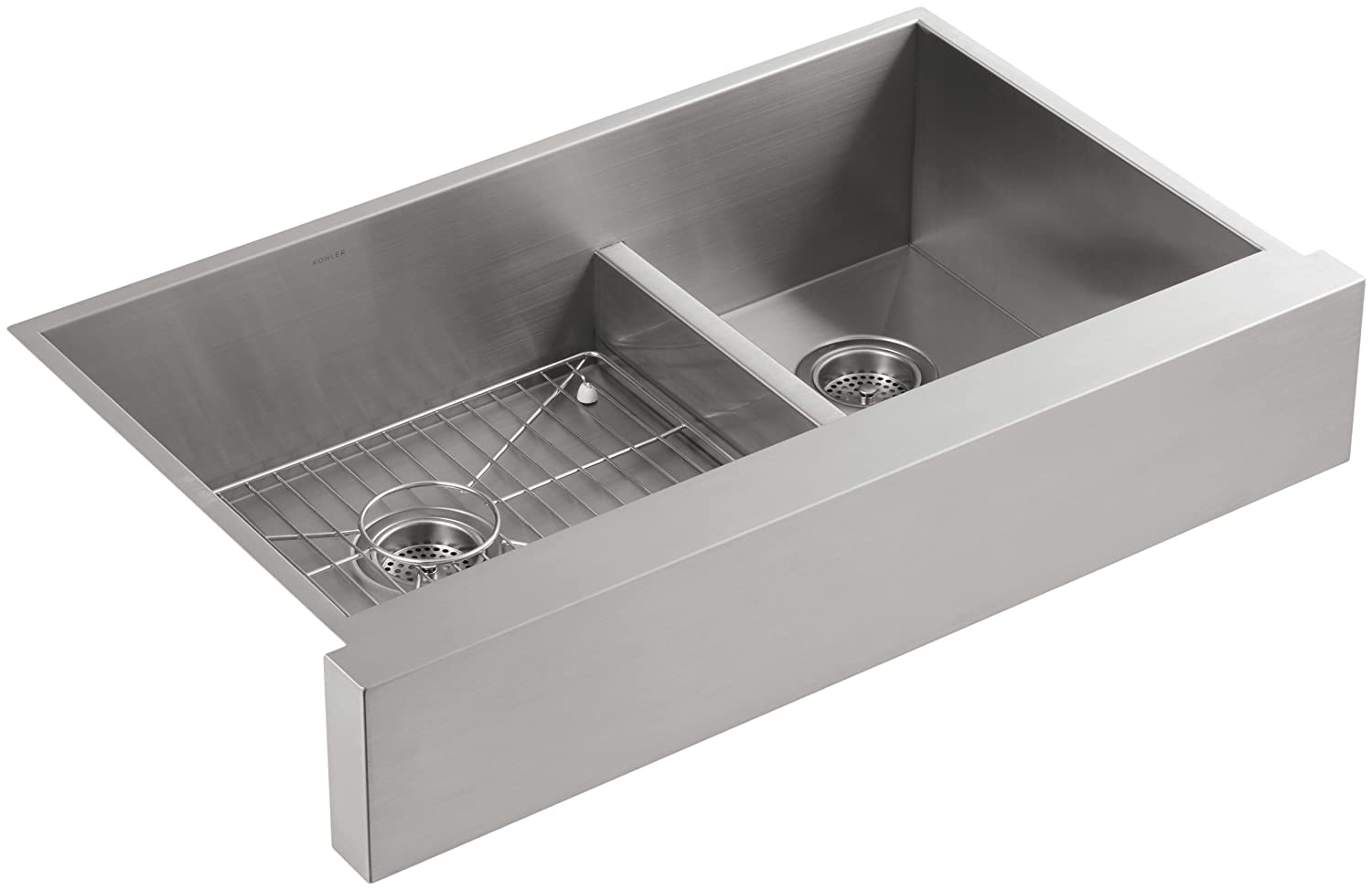 KOHLER K-3945-NA Vault Undercounter Offset Smart Divide Stainless Steel Sink with Shortened Apron-Front for 36-Inch Cabinet