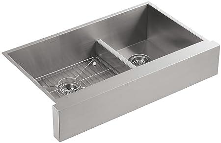 KOHLER K-3945-NA Vault Undercounter Offset Smart Divide Stainless Steel Sink with Shortened Apron-Front for 36-Inch Cabinet