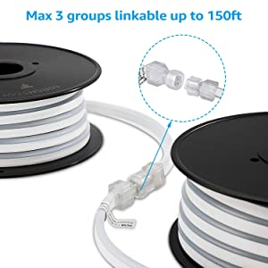 TORCHSTAR 50ft LED Rope Light, 120V Flexible Strip Lights, Bright IP67 Waterproof Neon Lighting, (150ft Max) Linkable for Indoor & Outdoor Decor, Ambient Decoration, Commercial Building, Amber (Color: Amber)