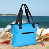 Miracase large beach bag, Waterproof Beach Bag Tote with Zipper Waterproof Lining for Beach Gym Hiking Picnic Travel (Blue) (Color: Blue, Tamaño: X-Large)