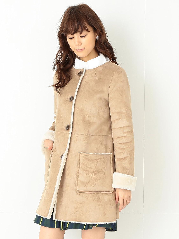 Amazon.co.jp: (レイビームス) Ray BEAMS / フェイクムートン ノーカラー コート 63190068690 キャメル 0: Amazonファッション通販
