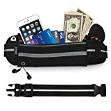 UShake Gear Running Belt, Bounce Free Pouch Bag, Fanny Pack Workout Belt Sports Waist Pack Belt Pouch for Apple iPhone 8 X 7 6 6+ Samsung Note Galaxy in Running Walking Cycling Gym with Extender-01 (Color: 01Black)