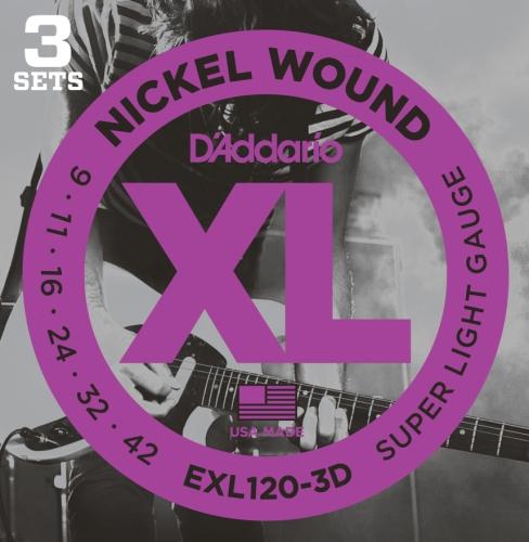 D'Addario Exl120-3D Nickel Wound Electric Guitar Strings, Super Light, 9-42, 3 Sets