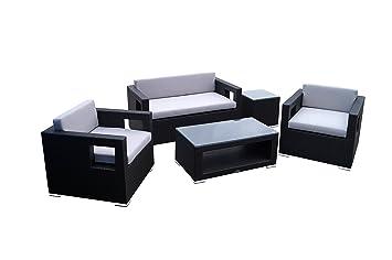 Rattan Lounge Set - Polyrattan Gartenmöbel Garnitur Sofa – kantiges Design – breite Armlehne - schwarz - 10 cm Kissenauflage - rostfreies Aluminiumgestell - Sitzgruppe - hervorragende Verarbeitung – top Qualität - preisgunstig