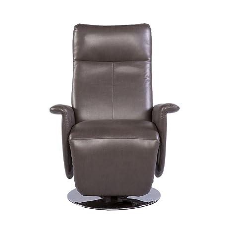 TV Sessel Relaxfunktion Kunstleder braun/grau