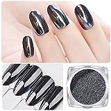 Saviland 2pcs 1g Magic Mirror Black Nail Glitter Powder Nail Art Chrome Pigment Dust Manicure DIY Nail Decoration