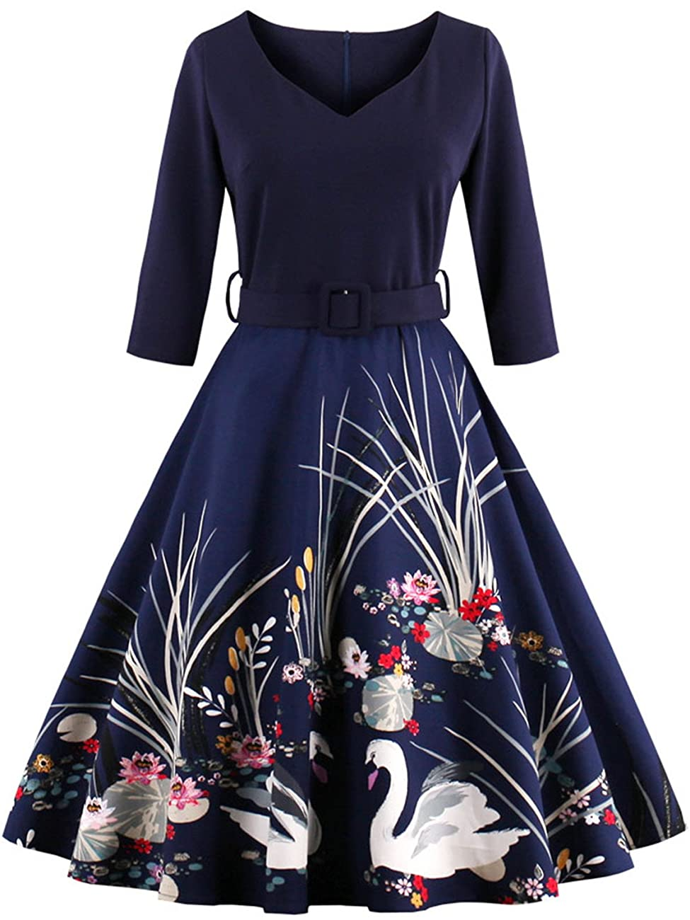 Babyonline Floral Vintage Women Dresses Half Sleeve 1950s Rockabilly Party Gown 0