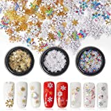 3 Boxes 3D Nail Stickers Colorful Gold Metal Snowflakes Slices Nail Art Sequins for DIY Christmas Nails Decorations Manicure Supplies