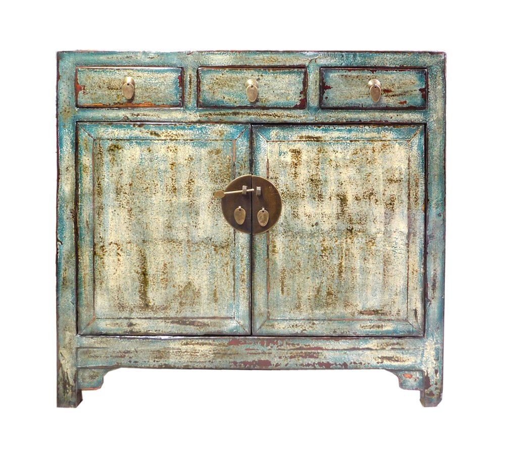Chinese Distressed Blue Side Tall Credenza Table Cabinet Acs1695 0