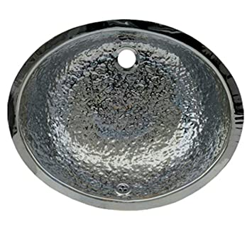 Whitehaus WH920ABB-POSS Oval 18 1/2-Inch Hammered Textured Undermount Basin with Overflow, Polished Stainless Steel