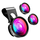 VicTsing Phone Camera Lens, 180° Fisheye Lens+0.65X Wide Angle Lens & 10X Macro Lens (Screwed Together), Clip on Cell Phone Lens Kits Compatible with iPhone 8/7/6s, Most Android and Smart Phone (Color: Dark Black)