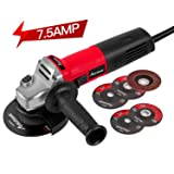 Angle Grinder 7.5-Amp 4-1/2inch with 2 Grinding Wheels, 2 Cutting Wheels, Flap Disc and Auxiliary Handle, Avid Power (Color: Red & Black, Tamaño: 4-1/2 inch Wheel)