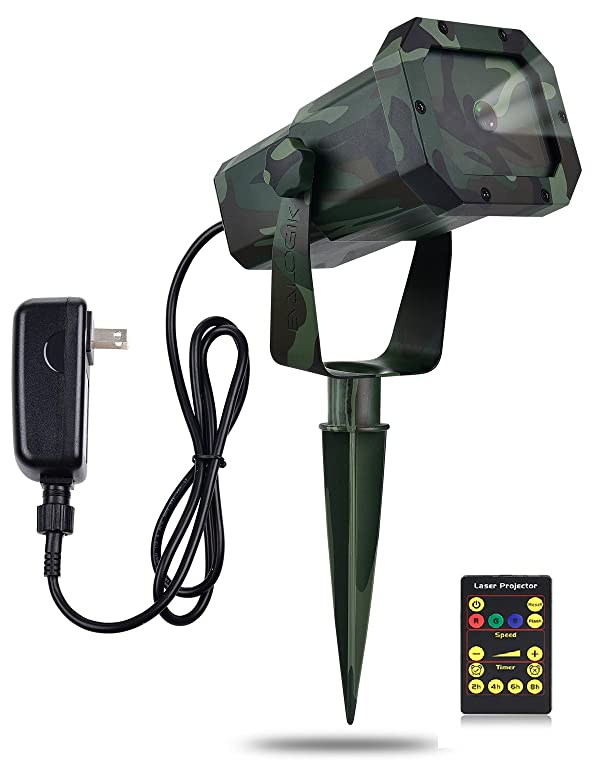 Premium Christmas Outdoor Waterproof Laser Projector Light- Moving RGB 20 Patterns- with RF Remote Control and Timer, Perfect for Lawn, Party, Garden Decoration (Color: Camouflage)