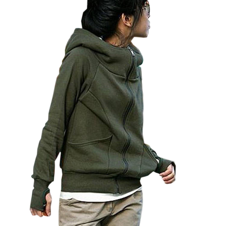Finejo Women's Hoodie Fleece - Size (Asian M(US S)) Color (Green) at Sears.com
