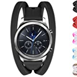 Gear S3 Bands, Silicone Watch Bands for Women Double Tour Rubber Replacement Strap Quick Release Wristband Bracelet with Metal Clasp for Samsung Gear S3 Frontier/Gear S3 Classic Smart Watch (Black) (Color: 1 A stripe texture black, Tamaño: 22mm)