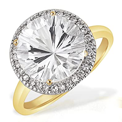 Goldmaid 9ct Yellow Gold Millenium Ring with 1 White Topaz and 30 Diamonds