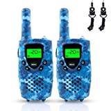 FAYOGOO Walkie Talkies for Kids, 22-Channel FRS/GMRS Radio, 4-Mile Range Two Way Radios for Kids with Flashlight and LCD Screen (Camo Blue)