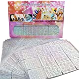 GBSELL 24 Sheets Irregular Grid Stencil Reusable Manicure Stickers Stamping Template Nail Art Tools