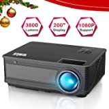 Projector, WiMiUS P18 3800 Lumens LED Projector Support 1080P 200