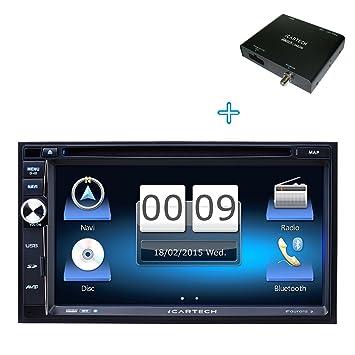 Icartech Aurora 2 Autoradio intelligent avec package multimédia, radio digitale DAB+, micro externe, GPS +TMC, processeur ultra rapide 1,2 GHz Cortex A9, Bluetooth, répertoire téléphonique, fonction mains libres, streaming audi