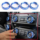 Aluminum Alloy Car Inner side Air Conditioner Switch Knob Ring Cover Trim For Ford F150 XLT 2016 2017 2018 (Blue)