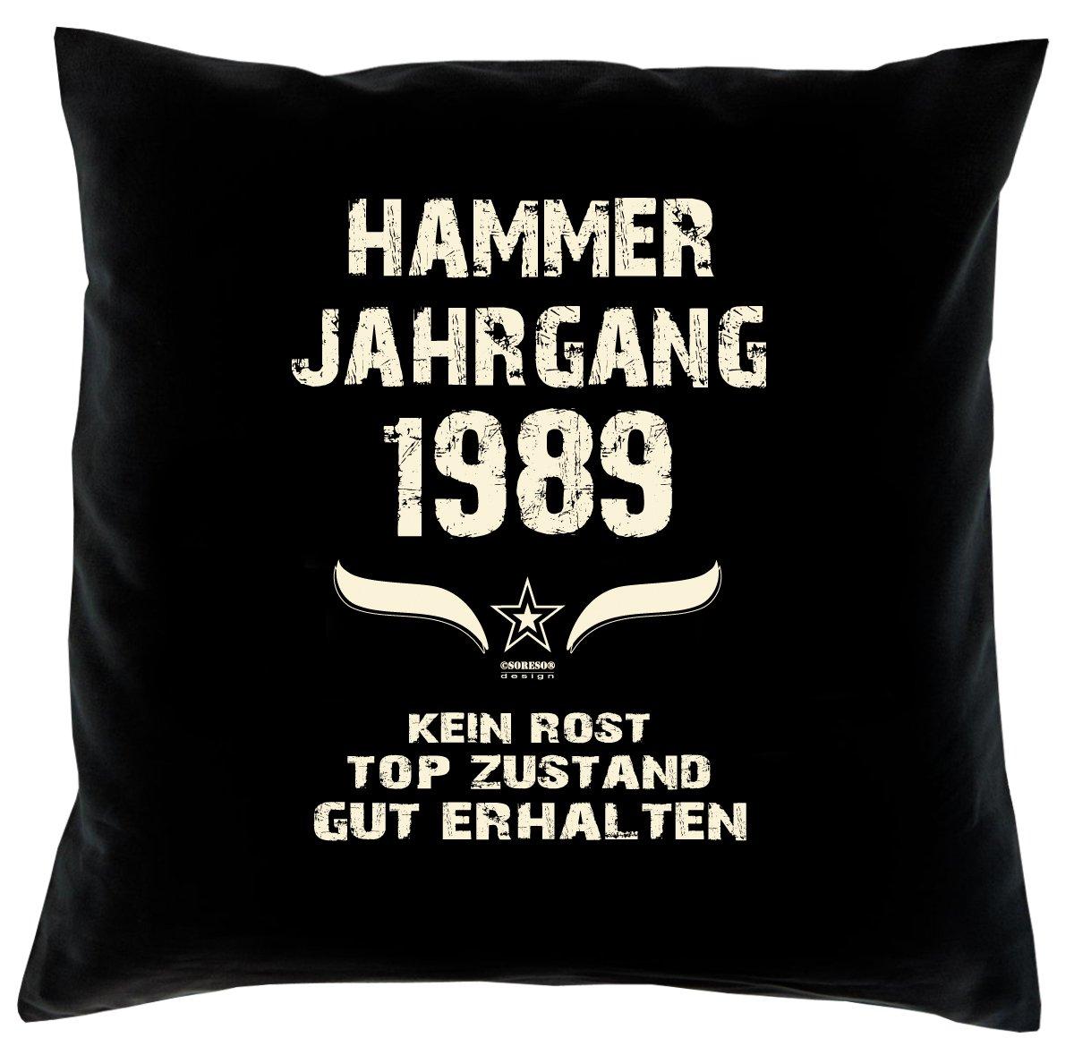 Cooles – Fun – Kissen – Sitzkissen – Zum 27. Geburtstag – Hammer Jahrgang 1989 Farbe: Schwarz – Größe: 40 x 40 cm günstig bestellen