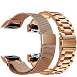 CAGOS for Gear Fit2 Bands Sets Women, 2 Pack Solid Stainless Steel Fit2 Band Metal Strap + Milanese Loop Mesh Replacement Wristbands for Samsung Gear Fit2 Smartwatch(Metal+Mesh Rose Gold) (Color: Metal+Mesh Rose Gold, Tamaño: Fit 2)
