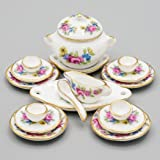 Odoria 1:12 Miniature 18PCS Porcelain Tableware Pink Rose Dollhouse Kitchen Accessories