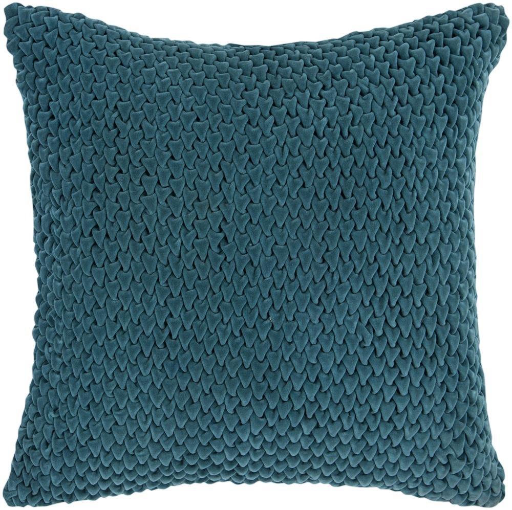 Surya P-0275 Hand Crafted 100% Cotton Teal Green 18 x 18 Solid Decorative Pillow