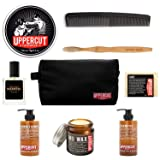 Uppercut Deluxe Mens 9-Piece Travel Toiletry Kit – Set of Featherweight Hair and Mustache Mo Wax, shampoo, Conditioner, Soap, North Cologne, Toothbrush, Wash Bag, With a Braidz Comb