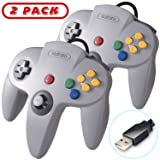 2 Pack Retro N64 Classic USB Controller,kiwitatá N64 Bit USB Wired PC Controller Game Pad for Windows PC Mac Linux Retro Pie Gray (Color: Gray 2Pack)