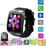 Bluetooth Smart Watch Phone Mobile Phone Unlocked Universal GSM Bluetooth 4.0 NFC Music Player Camera Calendar Stopwatch Sync for Android iPhone Google Huawei Smartphones Plus Backup Battery (Black) (Color: Black)