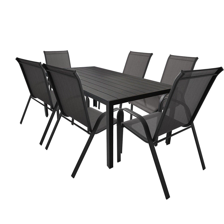 Wohaga® Elegante 7-teilige Sitzgarnitur Gartengarnitur Aluminium Polywood / Non Wood Tisch 205x90x74,5cm + 6x Gartenstuhl stapelbar mit Textilenbespannung Terrassenmöbel Sitzgruppe Gartenmöbel Set