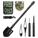 ENKEEO Military Folding Shovel Multitool for Scout, Hiking, Backpacking, Adventure Cycling, Dry Camping, Trenching, Emergency and Survival (Color: Black)