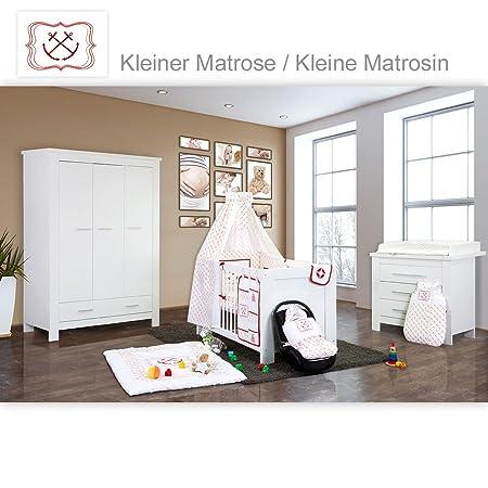 Babyzimmer Enni in weiss 10 tlg. mit 3 turigem Kl. + Textilien von kleine Matrosin in Rot