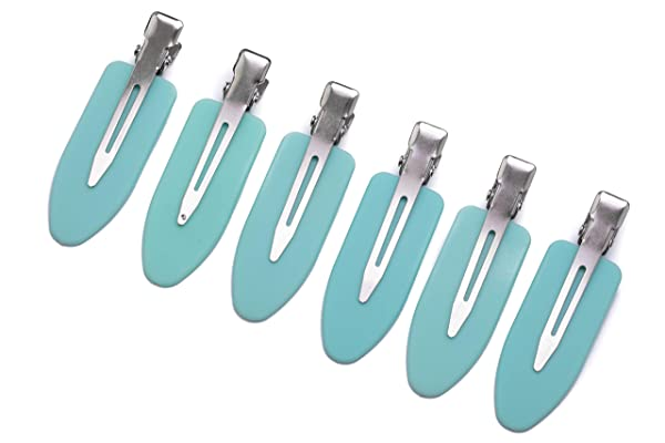 No Crease Hair Clips by A&D Innovation-Set of 6 Rubber No Bend Hair clips used by Professionals & Celebrity Stylists-Perfect for Makeup Application, Styling & Sectioning, will Not Crease or Dent Hair. (Color: Teal)