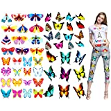 Kids Butterfly Iron On Patches-Baby Transfers Stickers Patch-Appliques for Clothes,Girl Lovely Cartoon Animal Butterfly Iron on Transfers Patterns for T Shirts Clothes Patterns,4 Sheets 53 Patterns (Color: small-1)