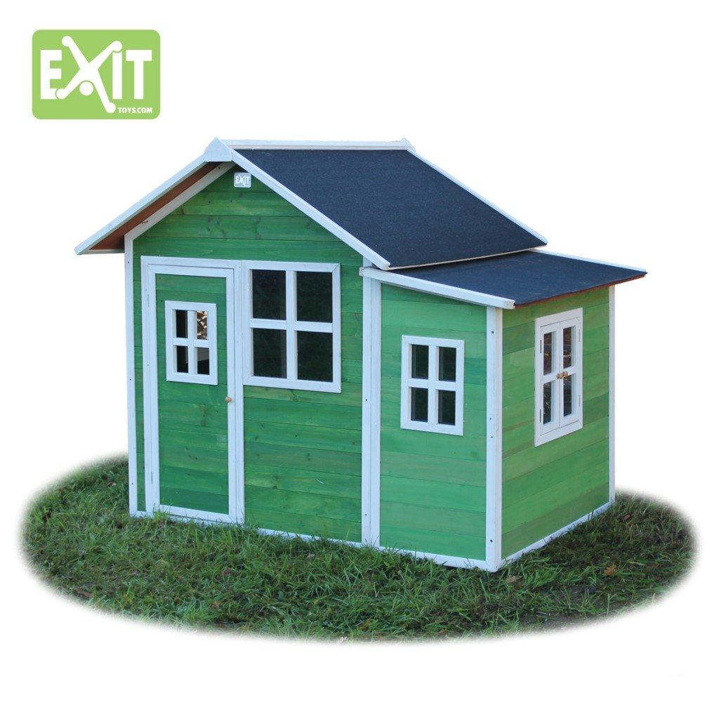 EXIT Loft 150 grün / Spielhäuschen mit Tür + 5 Fenstern / Material: Zedernholz / Maße: 118 x 171 x 160 cm / 77,5 kg / für Kinder ab 3 günstig kaufen
