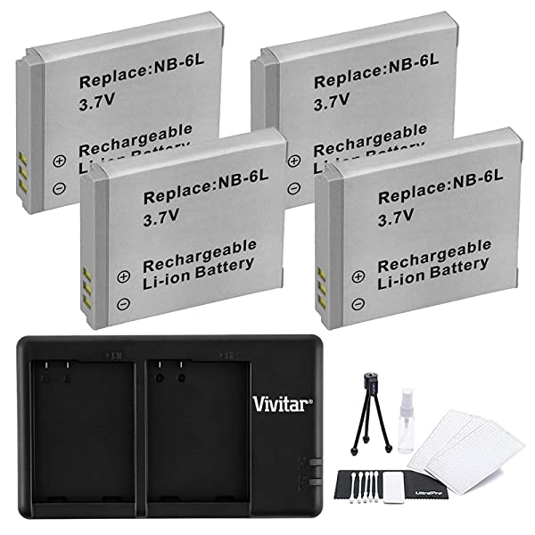 4-Pack NB-6L,NB-6LH High-Capacity Replacement Battery with Rapid Dual Charger for Select Canon Digital Cameras. UltraPro Bundle Includes: Camera Cleaning Kit, Screen Protector, Mini Travel Tripod