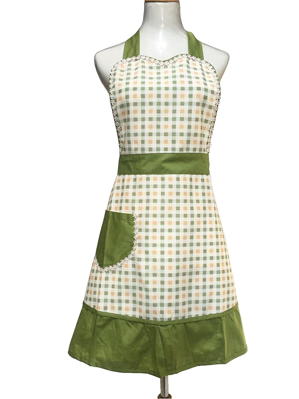 Lovely Sweetheart Retro Kitchen Aprons Woman Girl Cotton Cooking Salon Pinafore Vintage Apron Dress with Pocket,Green 1